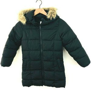 GAP Kids Black Zip Hooded Puffer Winter Coat 6-7